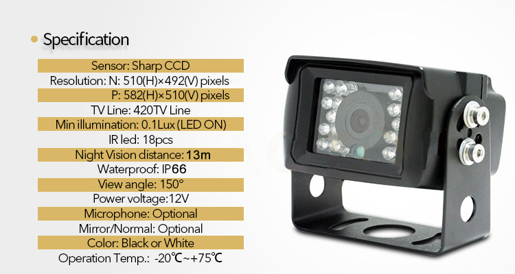 universal reverse camera with ir led