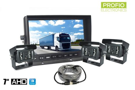"""3 camera system with AHD 7""""LCD monitor and 18x IR LED"""